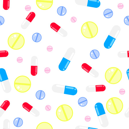pastille: Medicine pills seamless vector pattern. Pills, drugs and vitamins white background. Illustration