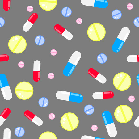 pastille: Medicine pills seamless vector pattern. Pills, drugs and vitamins grey background.