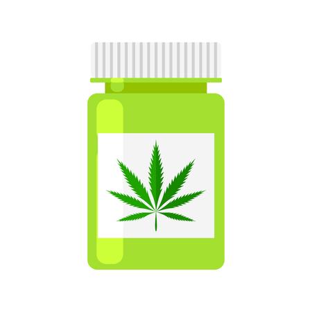 plastic container: Medicine cannabis bottle. Marijuana prescription Rx bottle vector icon. Green drug plastic container. Marijuana plant leave. Illustration