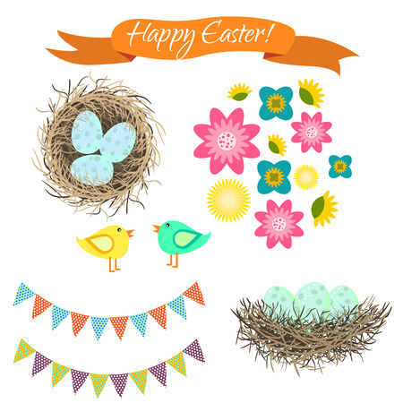 Easter clipart set. Blue eggs in nest, birds and flowers. Happy Easter holiday spring vector objects for cards and scrapbook.