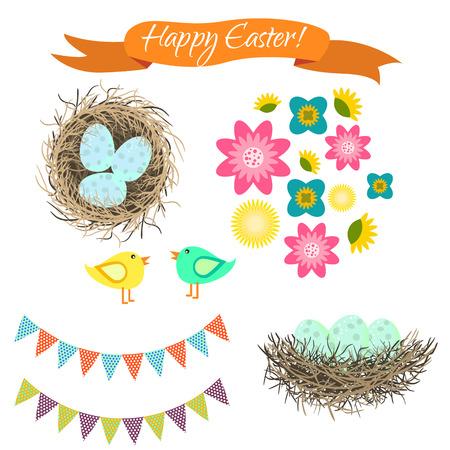 set di Pasqua clipart. uova blu nel nido, uccelli e fiori. Buona Pasqua primavera vacanza oggetti vettoriali per le schede e album.