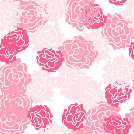 Romantic rose and peonies seamless pattern. Densely printed flowers love theme background. Pink rose colors.