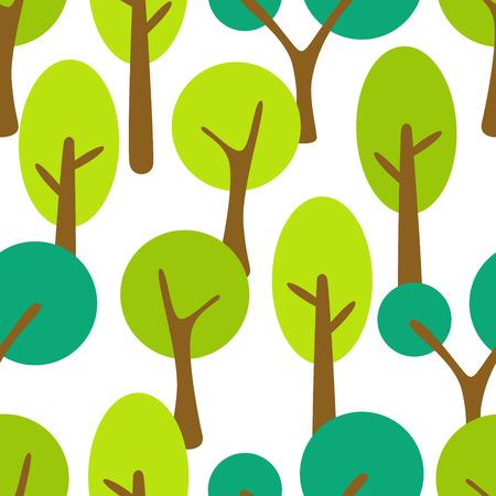 Estilizada bosque de verano árbol de dibujos animados patrón transparente. Ilustración de vector