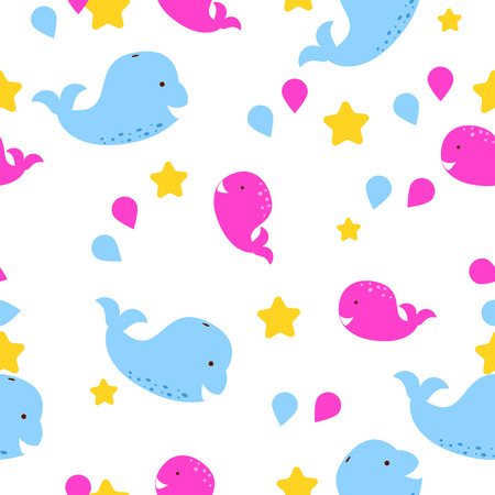 cachalot: Whale kid seamless vector pattern for textile print. Blue and pink happy cartoon whales on white star background. Fabric baby pattern.