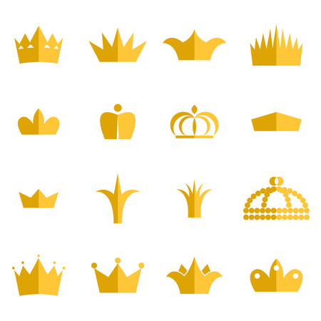 Gold crown clip art vector set. King or queen crowns flat style icons.