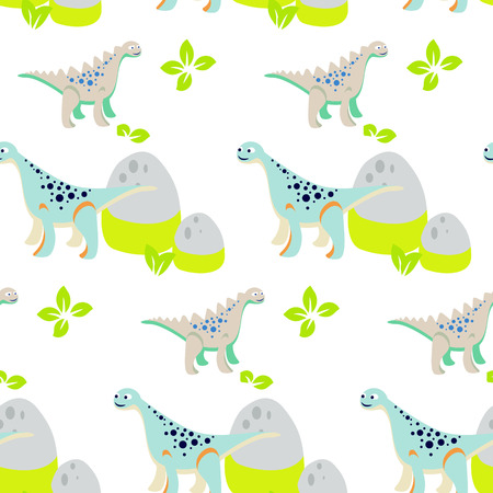 dinosaur cute: Dinosaur kid seamless vector pattern for textile print. Green and blue happy cartoon dino reptile with mount rocks on white. Baby fabric pattern. Illustration