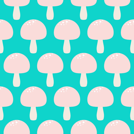 a fly agaric: Cartoon tale mushroom seamless pattern. Pink fly-agaric fungus turquoise background. Illustration