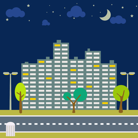 city scape: Night city scape panorama. Horizontal downtown outdoor view with moon and stars on sky. Trees and lanterns on the sidewalk and road in front. High-rise building in the evening street.