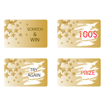 Scratch and win a prize or try again card vector. Lottery ticket in gold color with stars. Vectores