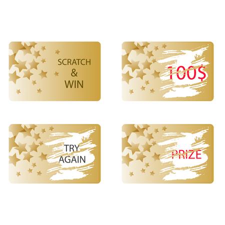 Scratch und einen Preis gewinnen oder versuchen Sie es erneut Kartenvektor. Lotteriekarte in Goldfarbe mit Sternen.