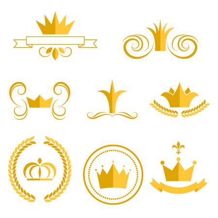 Gold crown logos and badges clip art vector set. King or queen crowns flat style icons.