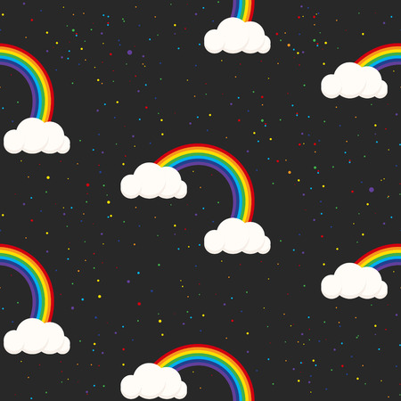 grey sky: Night sky fantasy kid seamless pattern. Star confetti, clouds and rainbow boy grey wallpaper and fabric design.