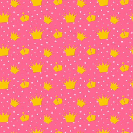 girlish: Girlish pink pattern with princess crowns.. Star confetti, yellow gold crowns fun kid wallpaper and fabric design. Illustration