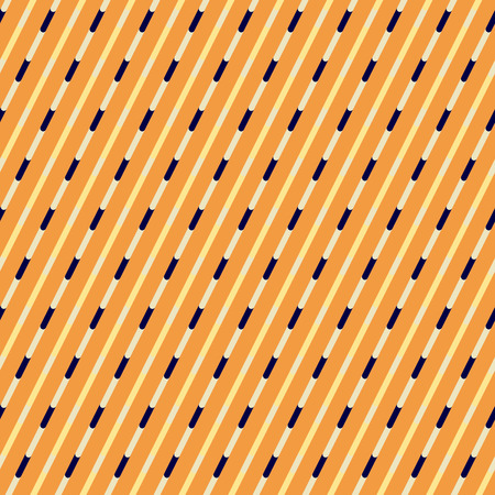 discontinuous: Orange and blue diagonal stripes seamless pattern. Discontinuous oblique bands design for fabric or wrap paper.