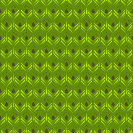 feathering: Abstract green leaves seamless pattern. Geometric stylized peacock feather texture background.