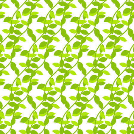 liana: Stylized cartoon liana jungle seamless pattern. Green ivy branch background for textile fabric and wallpaper. Illustration