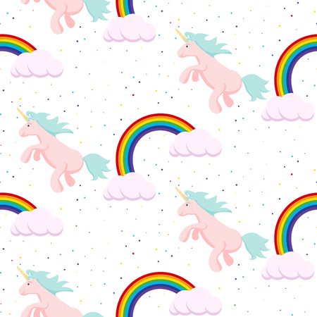 Cute unicorn and rainbow child seamless vector pattern. Baby white fabric design, surface textile for kid clothes, bed linen.  イラスト・ベクター素材