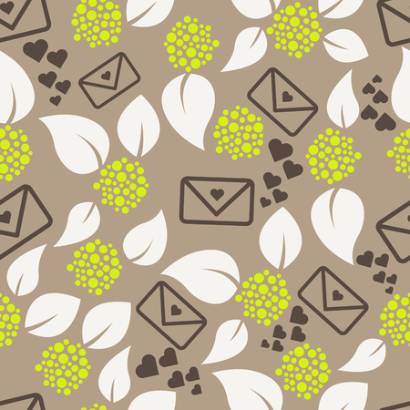 mocha: Romantic letters and flowers seamless pattern. Leaves, envelope and hearts love theme background. Green and mocha colors.
