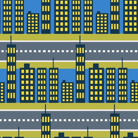 megalopolis: City skyscrapers and road streets seamless pattern. Megalopolis neighborhoods houses night background. Illustration