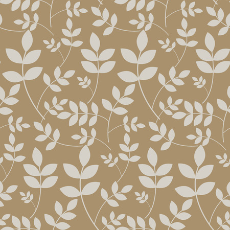 leafage: Leaves branches floral brown and grey seamless vector pattern. Nature background for wedding invitations or wallpaper texture.