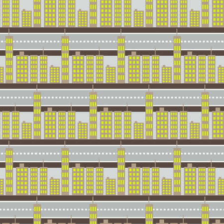 megalopolis: City skyscrapers and road streets seamless pattern. Megalopolis neighborhoods houses background.