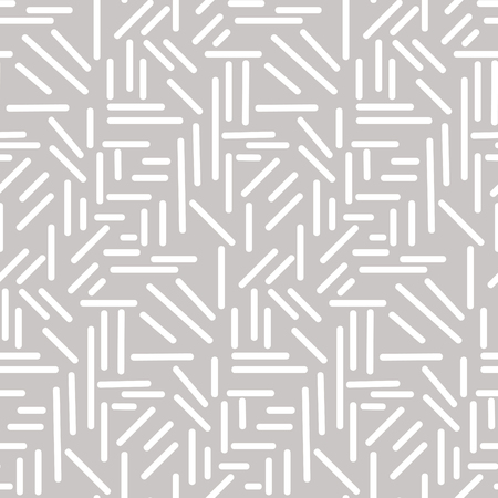 Abstract geometric white sticks on grey seamless vector pattern. Two colors monochrome textile ornament.