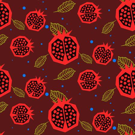 garnet: Pomegranate pattern. Seamless deep red garnet fruit floral vector ornament.