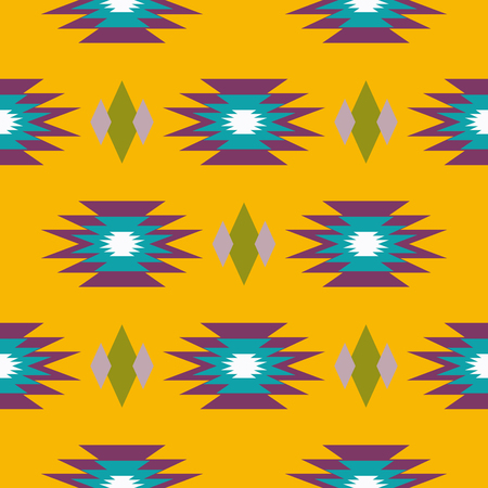 indian mustard: Aztec indian geometric seamless pattern. Tribal blue and mustard yellow fabric design with geometry shape elements.