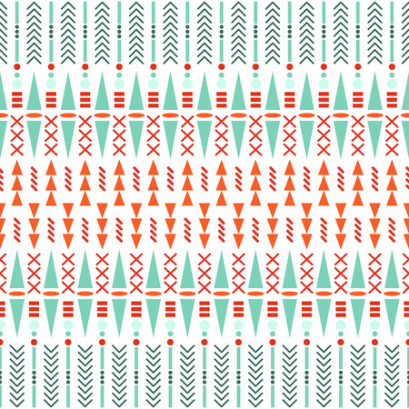 textile background: Ethnic seamless vector pattern. Aztec red, green on white fabric design with geometric shape elements.