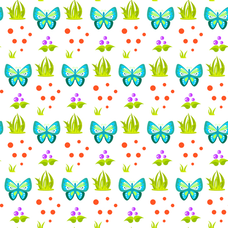 sheaf: Spring forest butterfly and grass sheaf seamless pattern. Cartoon fungus white background. Illustration
