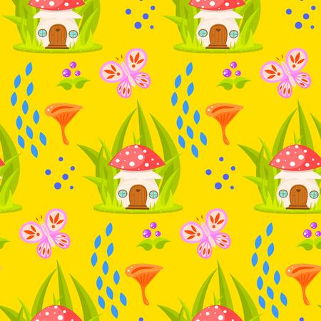 Frühlingswaldpilzhaus nahtlose Muster. Cartoon Fliegenpilz Pilz nach Hause und Pfifferling gelben Hintergrund.