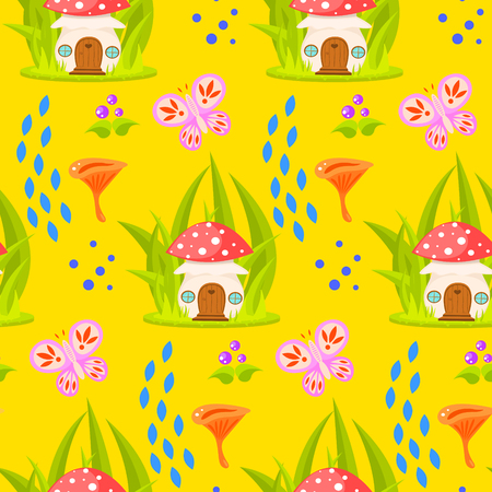 a fly agaric: Spring forest mushroom house seamless pattern. Cartoon fly-agaric fungus home and chanterelle yellow background. Illustration