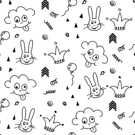 smileys: Baby black and white pattern seamless design. Nursery kid doodle background for bed linen and apparel. Smileys and bunny.