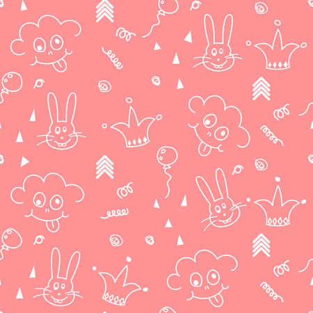 smileys: Baby pink and white doodle pattern seamless design. Nursery kid doodle background for kid bed linen and apparel. Smileys and bunny.