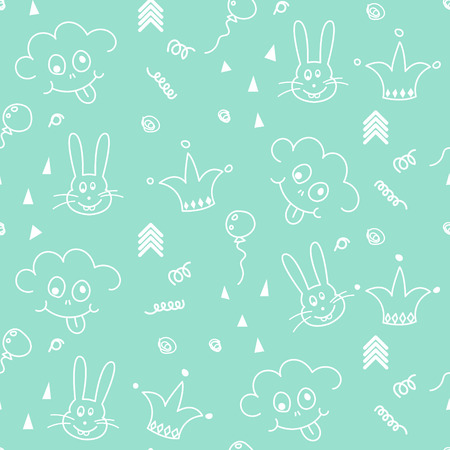 smileys: Baby mint and white doodle pattern seamless design. Nursery kid doodle background for kid bed linen and apparel. Smileys and bunny.