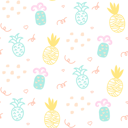 ananas: Baby pattern pastel pineapple seamless design. Nursery kid background for bed linen and apparel. Ananas yellow and mint fun pattern.