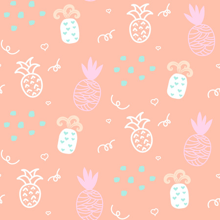 ananas: Baby pattern pastel pineapple seamless design. Nursery kid background for bed linen and apparel. Ananas white and pink fun pattern.