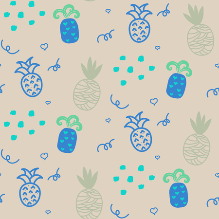 ananas: Baby pattern beige and blue pastel pineapple seamless design. Nursery pineapple kid background for bed linen and apparel. Ananas pineapple coffee mint fun pattern. Illustration