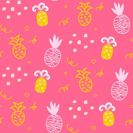 赤ちゃんパターン ピンク パイナップル シームレス設計。ベッドリネンとアパレルの保育園パイナップル子供背景。パイナップル パイナップルの黄色とピンクの楽しいパターンです。 写真素材 - 54454116