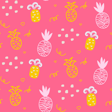 ananas: Baby pattern pink pineapple seamless design. Nursery pineapple kid background for bed linen and apparel. Ananas pineapple yellow and pink fun pattern.
