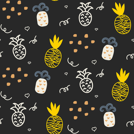 Baby pattern dark grey and yellow pineapple seamless design. Nursery pineapple kid background for bed linen and apparel. Ananas pineapple white and gray fun pattern.  イラスト・ベクター素材