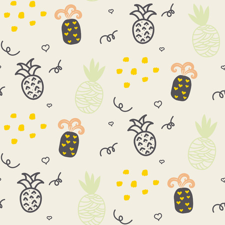 ananas: Baby pattern pastel beige pineapple seamless design. Nursery pineapple kid background for bed linen and apparel. Ananas pineapple taupe and brown fun pattern.