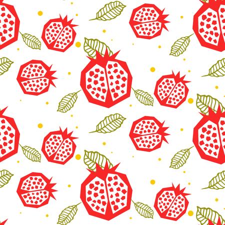 Pomegranate pattern. Seamless garnet fruit and leaf white vector ornament.