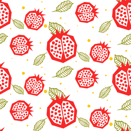 garnet: Pomegranate pattern. Seamless garnet fruit and leaf white vector ornament.