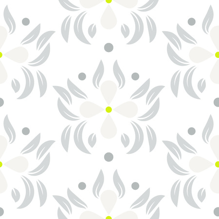 gray flower: Floral leaves seamless vector pattern.  White gray flower repeating wallpaper pattern. Illustration