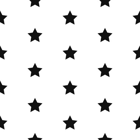 striated: Simple star shape black and white seamless pattern. Vector geometric monochrome starlight background. Star pattern. Star monochrome classic ornament.