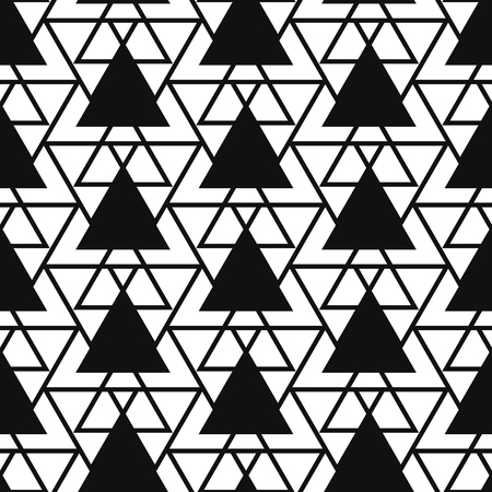 striated: Simple reticulate triangle net shape black and white seamless pattern. Vector geometric monochrome starlight background. Triangle net pattern. Triangle monochrome classic ornament.