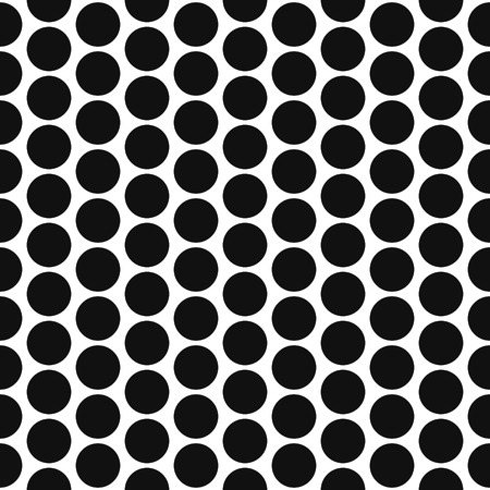 striated: Simple bold polka dot shape black and white seamless pattern. Vector geometric monochrome starlight background. Polkadot bold pattern. Dotted monochrome classic ornament.