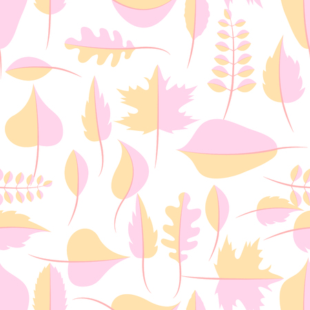 withered: Autumn yellow and pink withered leaves in flat lay style seamless pattern. Oak leaf, chestnut leaf, maple, birch and acacia leaves.
