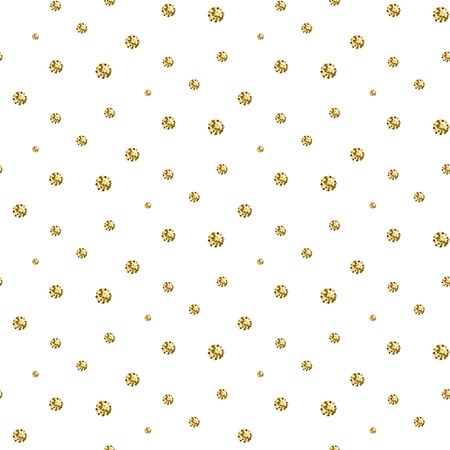shimmer: Gold foil glitter polkadot seamless pattern. Vector shimmer abstract circles texture. Sparkle shiny balls background. Illustration